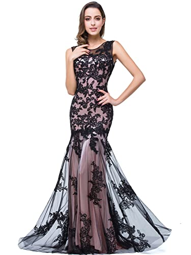 Babyonline Black Lace Mermaid Evening Dresses Sleeveless Long Maxi Party Gown
