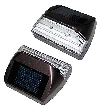 Solar Outdoor Step Lights: Set of 2 Solar Deck/step Lights, Rectangle, Illuminates up to 8 Hours,Lighting