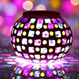 Solar Powered Glass Mosaic LED Ball Lights, Color Changing Solar Garden Lamp, Sitting Room Lights, Festive Party Decoration Color Changing Lights, Portable Outdoor Solar Lights.