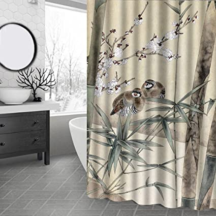 Idgreadecor Couple Birds On Bamboo Tree Painting Print Shower Curtain Brown Black Fabric Waterproof Anti