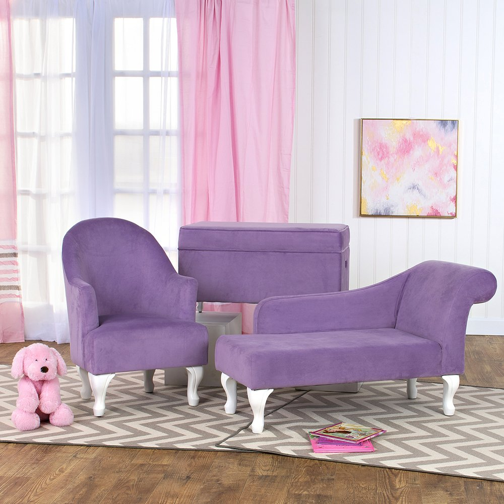 HomePop Diva Youth Velvet Decorative Storage Bench with White Wood Legs, Purple by HomePop (Image #7)