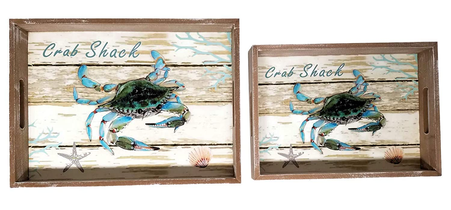 Coastal Beach Decor Crab Decorative Wooden Trays, Set of 2 (Crab) CWT 80001