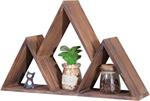 Mountain Decor Triangle Shelf Nursery Shelves Rustic Woodland Cabin Decor Crystals Shelf Floating Wooden Wall Art Premium Pine Wood Wall Mounted Hanging for Wall Storage Display Bedroom Great Gifts