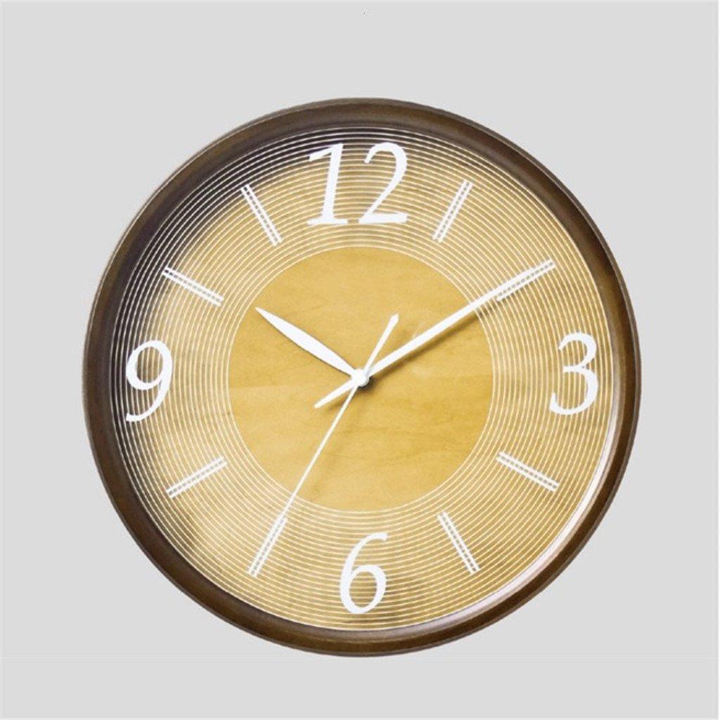 モダンクリエイティブウォールクロック木製ファッションアートパーソナリティシンプルなリビングルームのベッドルームガールズ子供サイレントクォーツラウンド330 * 330Mm,Yellow B07D74MND1Yellow