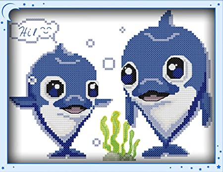 Ocean World Dolphin Fish Counted Cross Stitch Kit Handmade Embroidery Craft