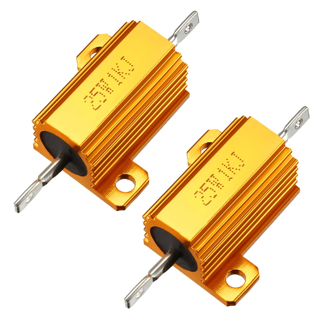 uxcell 25W 1k Ohm 5/% Aluminum Housing Resistor Screw Tap Chassis Mounted Aluminum Case Wirewound Resistor Load Resistors Gold Tone 2 pcs a18032700ux0054