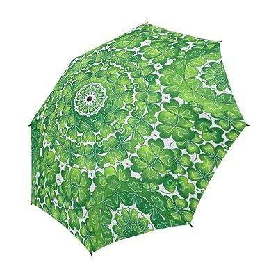 InterestPrint ADEDIY Umbrella Vogue Luck Flower Clover Like Butterflies Semi-Automatic Foldable Travel Umbrella Rainy Sunny Gift