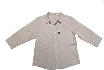LL Bean Womens Wrinkle Free Button Front Blouse Large Purple