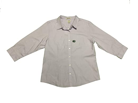 d0d57147c7db4 LL Bean Women s Wrinkle Free Button Front Blouse Large Purple at ...