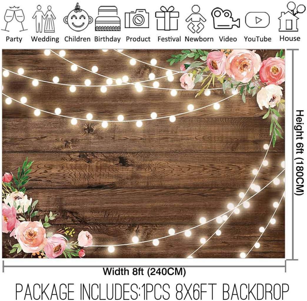 Amazon Com Allenjoy 8x6ft Fabric Rustic Floral Wooden Backdrop