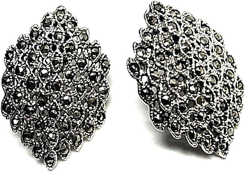 Pendientes plata ley 925m 30mm. piedras marquesitas [AA8860]