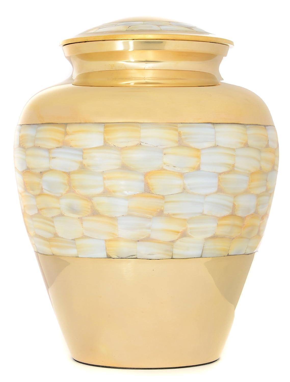 Urne für Asche, Messing Urne Erwachsene, Funeral Memorial Begräbnis Urne groß, Perlmutt und Gold NEU, Amazing Preis