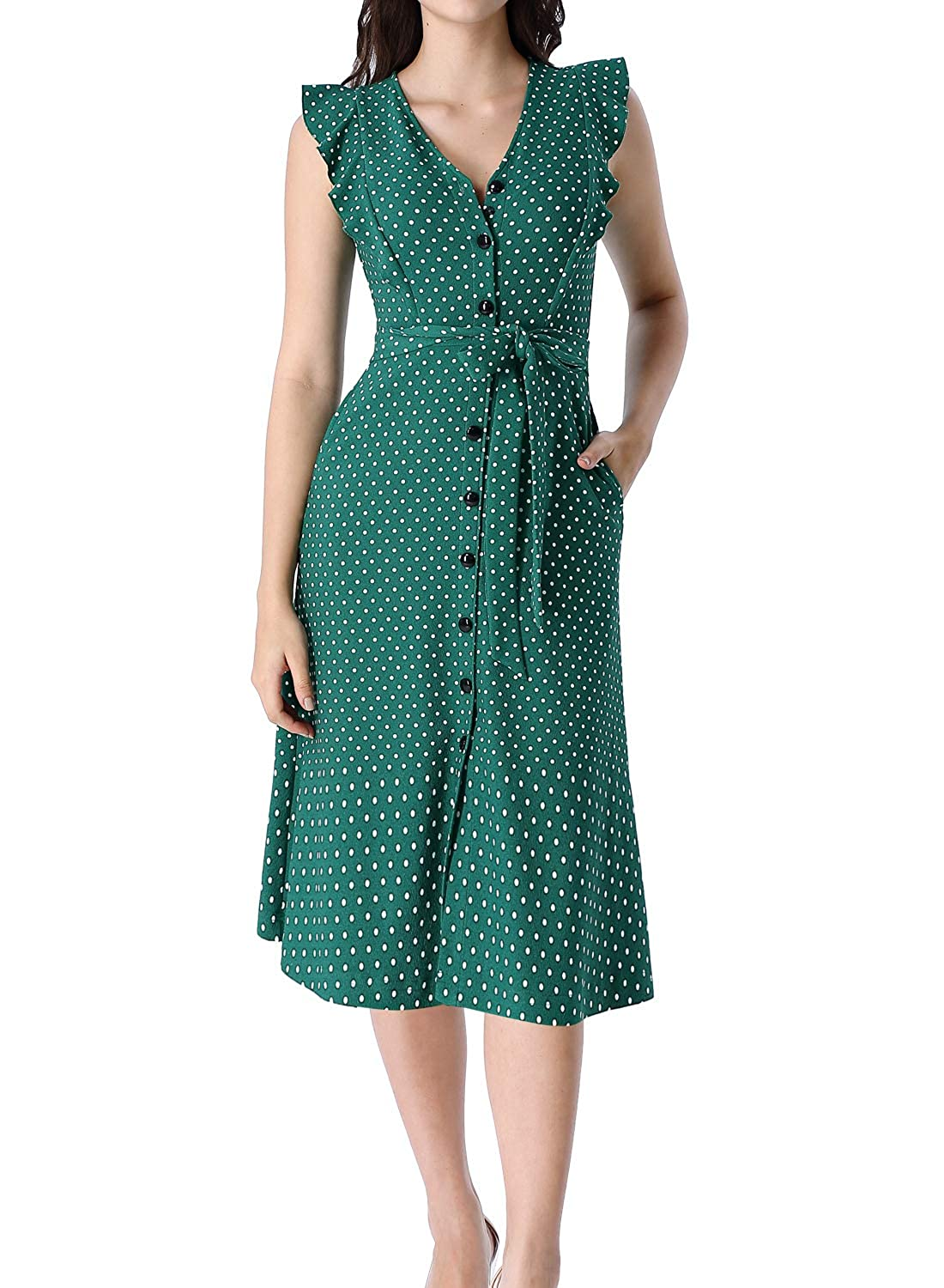 1930s Dresses | 30s Art Deco Dress VFSHOW Womens Ruffle Pockets Work Office Business Casual Party A-Line Midi Dress $36.99 AT vintagedancer.com