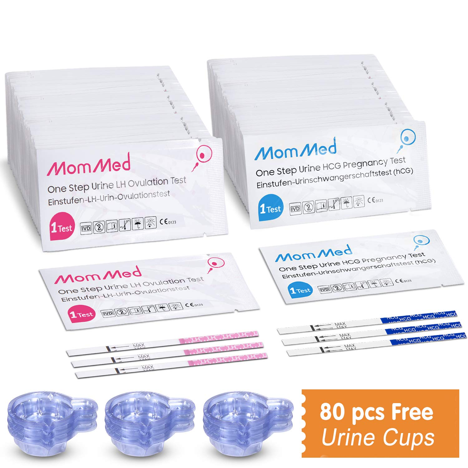 Ovulation and Pregnancy Test Strips, LH and HCG Fertility Test for Women, Includes 20 Pregnancy Tests, 60 Ovulation Test Strips, 80 Urine Cups, Time Tracking Chart, Rapid and Accurate Results by MOMMED