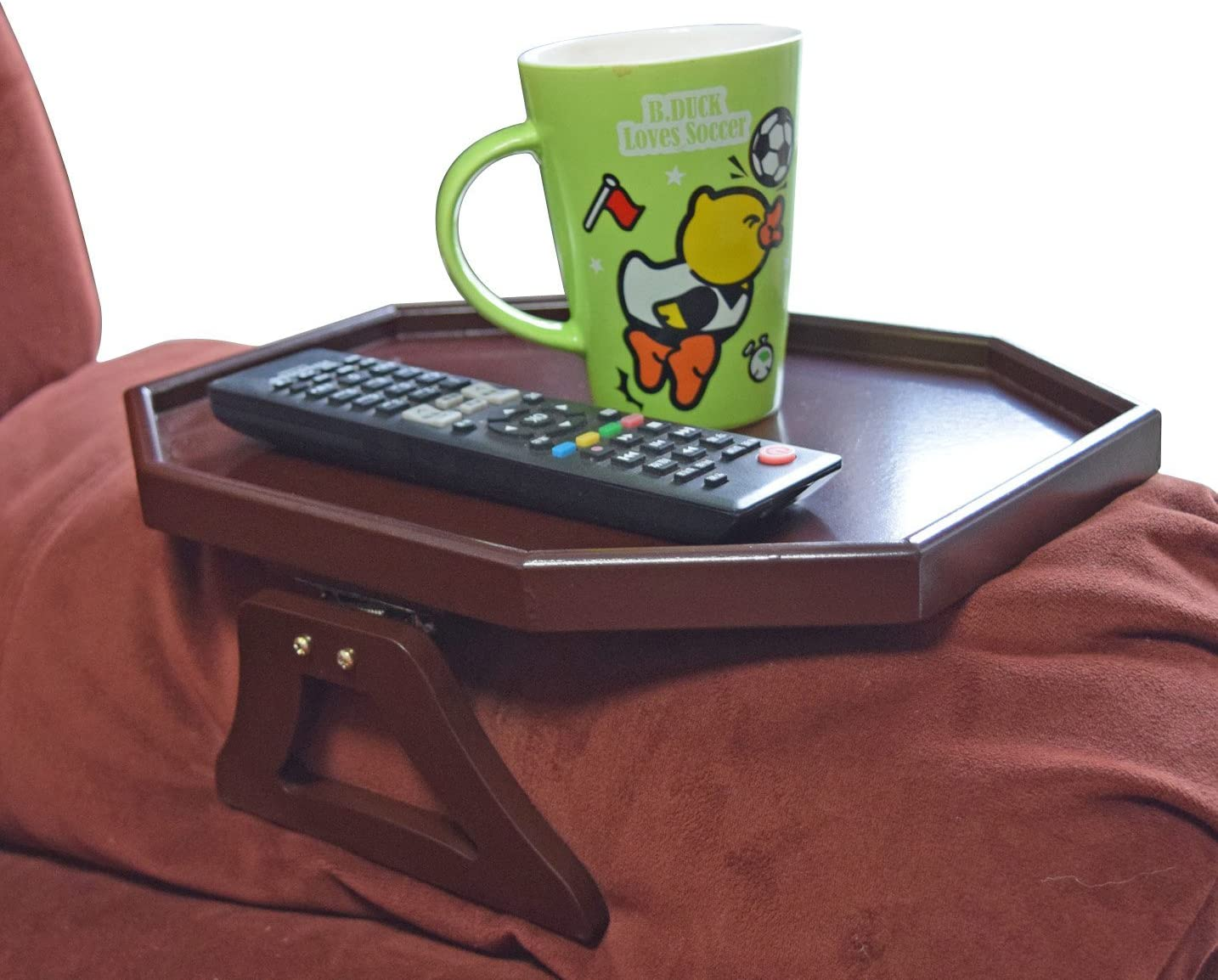 Utrax Wooden Sofa Arm Clip on Snack Table Wood Chair Armrest Tray Organizer Romote Caddy Cherry