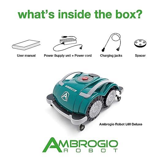 Robot cortacésped Ambrogio L60 Deluxe, Robot cortacésped de jardín Sin instalación hilo perímetro, Robot impermeable para césped cubre Un área de M2, ...