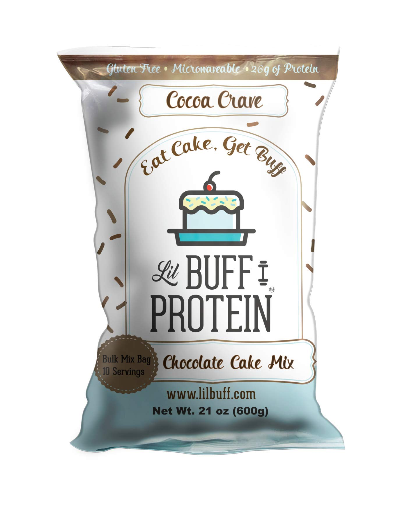 Lil Buff Protein | High Protein Cake Mix | Gluten Free, Microwaveable & 26g of Protein (Chocolate Cake Mix, Bulk Mix 10 Servings)