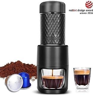 STARESSO - Cafetera manual italiana con pistón, de acero inoxidable y cristal resistente al calor para Expresso, Cappuccino. Color negro.: Amazon.es: Hogar