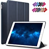 New iPad 9.7 2017 Case, ROARTZ Metallic Navy Blue Slim Fit Smart Rubber Coated Folio Case Hard Shell Cover Light-Weight Auto Wake/Sleep For Apple iPad 9.7-inch 5th generation Model A1822/A1823 Retina