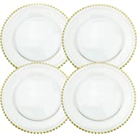 Clear Glass Charger 12.6 Inch Dinner Plate with Beaded Rim - Set of 4 - Gold
