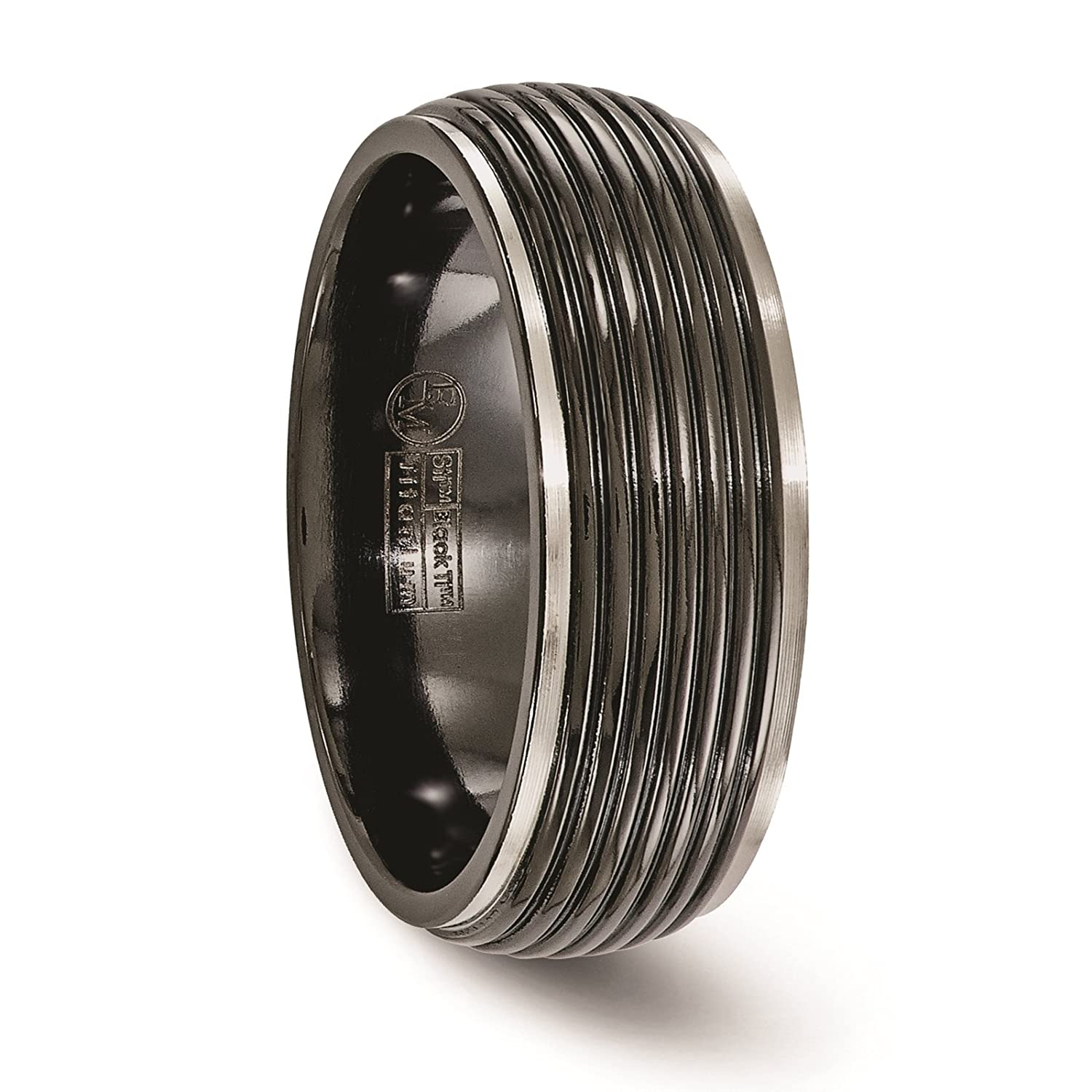 Titanium Black Ti Grooved w//Ribbed Edge 8mm Wedding Ring Band Size 7-13 by Edward Mirell