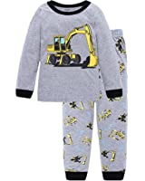 Little Hand Kids Pyjamas for Boys Pajama Set,Summer Boys Shorts Outfit,Kids 'Digger' Pjs Size 1-7 Age Nightwear Clothing Set