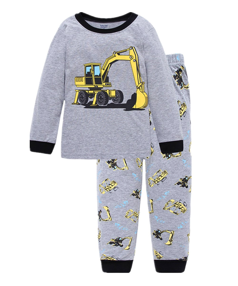 Kids Pyjamas for Boys Pajama Set 100% Cotton Pjs Sleepwear T Shirt & Pants Boys Long Sleeve Outfit Kids 'Digger' Pjs Size 1-7 Age Nightwear Clothing Set