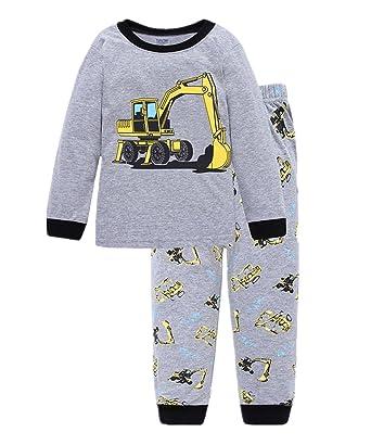 mieux aimé c0ec2 9fe3c Kids Pyjamas for Boys Pajama Set 100% Cotton Pjs Sleepwear T Shirt & Pants  Boys Long Sleeve Outfit Kids 'Digger' Pjs Size 1-7 Age Nightwear Clothing  ...