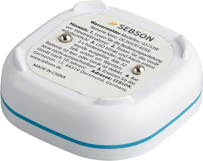SEBSON 2x Water Alarm Mini GS153 water leak detector 60x60x24.2mm water sensor with lithium battery 10 year long term battery
