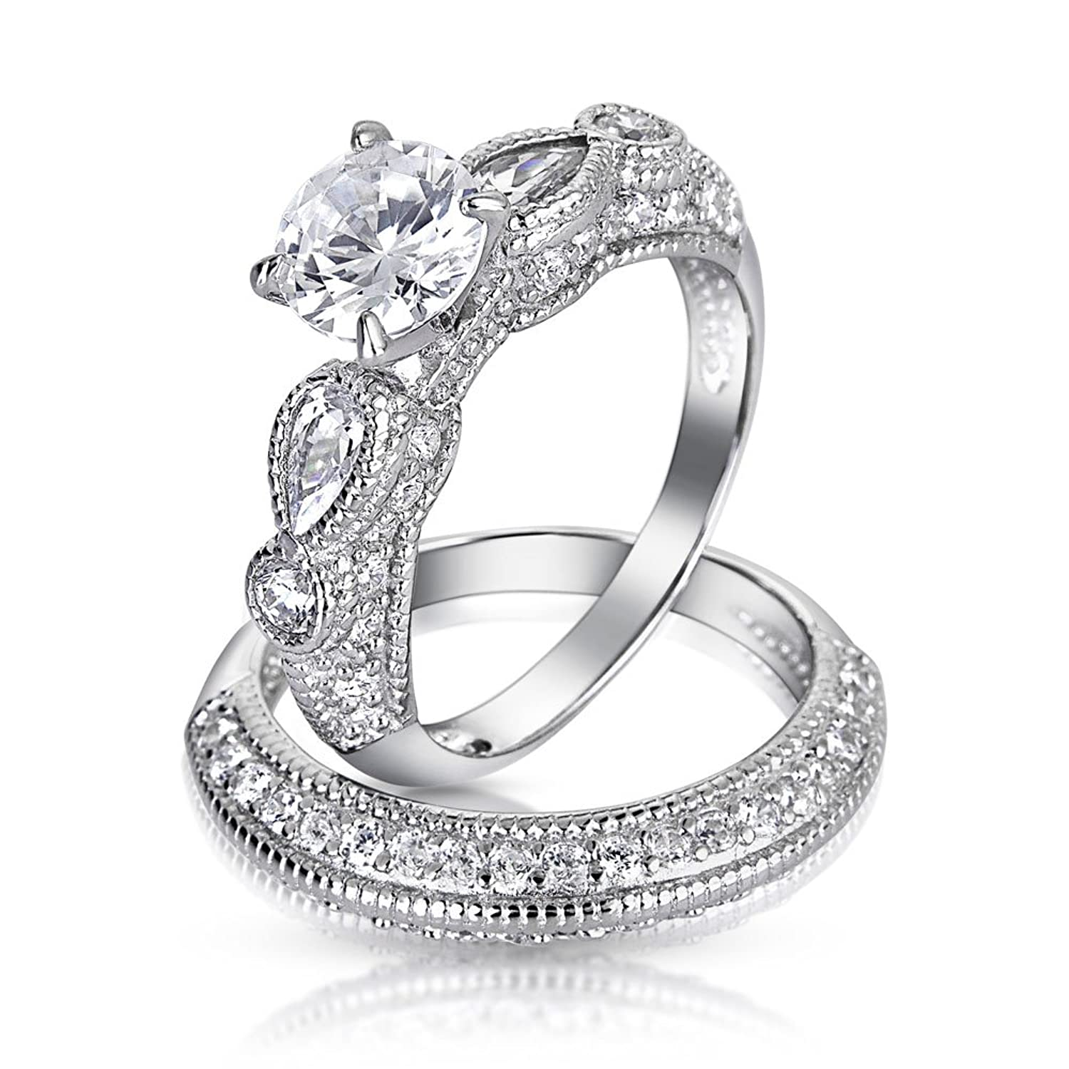 Amazon Bling Jewelry Silver Vintage Style 1 25ct CZ Round