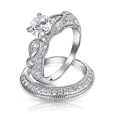 Vintage Style 11.5CT Round Solitaire Filigree AAA CZ Engagement Wedding  Band Ring Set For Women 925 Sterling Silver