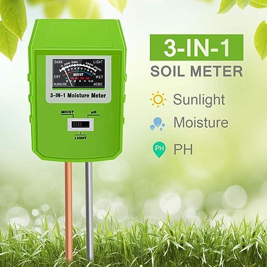 Misuratore Tester di pH Umidità e Luce Suolo Terreno Terra Igrometro
