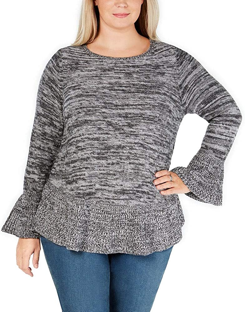 Style & Co. Womens Plus Ruffled Bell Sleeves Pullover Sweater