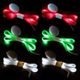 Novelty Place [3 Pairs] LED Light Up Shoelaces with 3 Modes for Party, Dancing, Running & DIY - 3 Pairs (Green, Red…