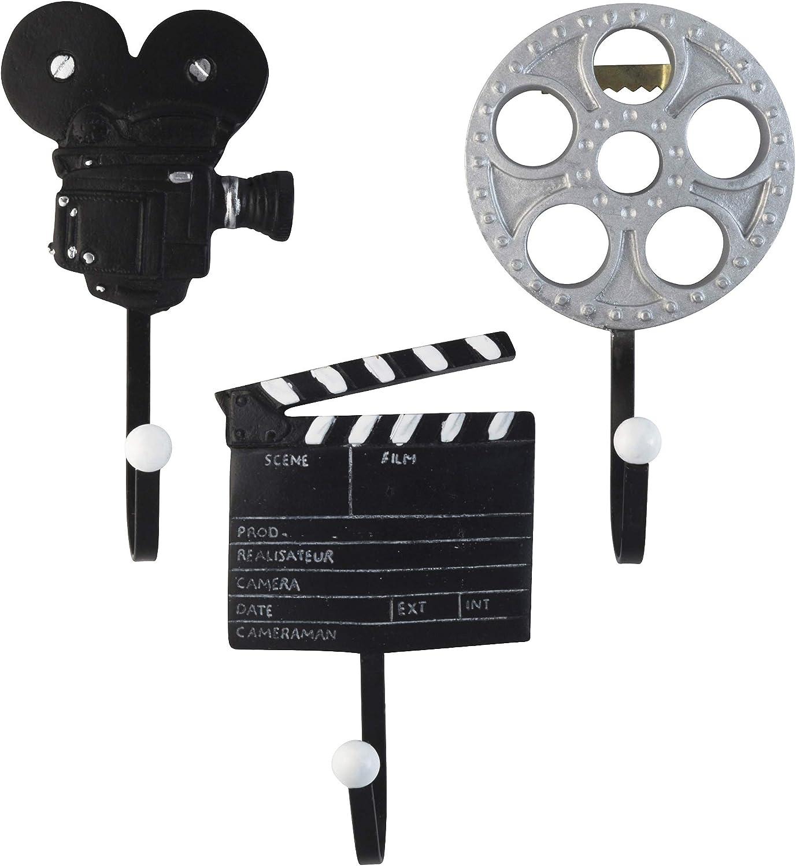 Decorative Vintage Films Movie Reel, Clapper Board and Cinema Camera Resin Wall Coat Hooks (Set of 3)