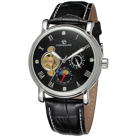 forsining fase de la luna de piel auténtica hombre automático reloj de pulsera fsg800 m3s4