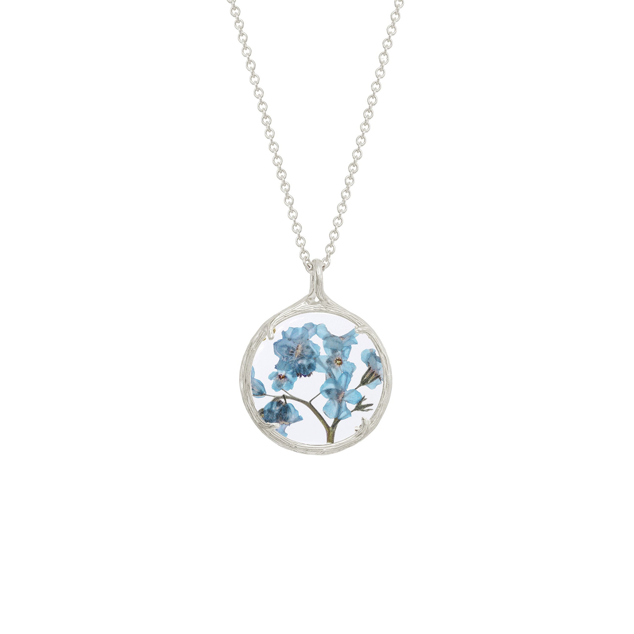 Botanical Pendant Necklace with Delicate Dried Flowers in Glass Charm (Forget Me Not Flowers, silver-plated-base)