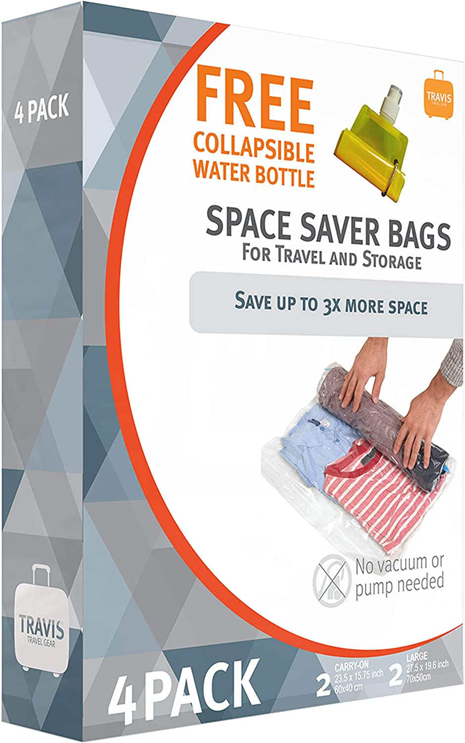 Travis Travel Gear Space Saver Bags. No Vacuum Rolling Compression, Has 4 Space Saver bags with 1 free collapsible water bottle, A total of 5 items in box