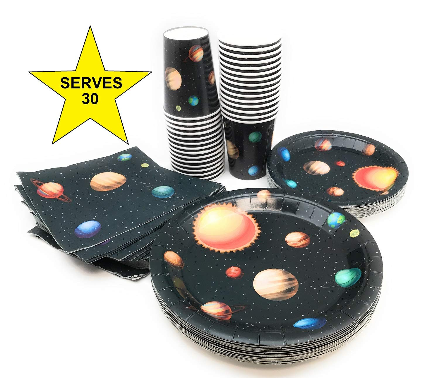 Serves 30 | Complete Party Pack | Outer Space | 9'' Dinner Paper Plates | 7'' Dessert Paper Plates | 9 oz Cups | 3 Ply Napkins | Outer Space Party Theme