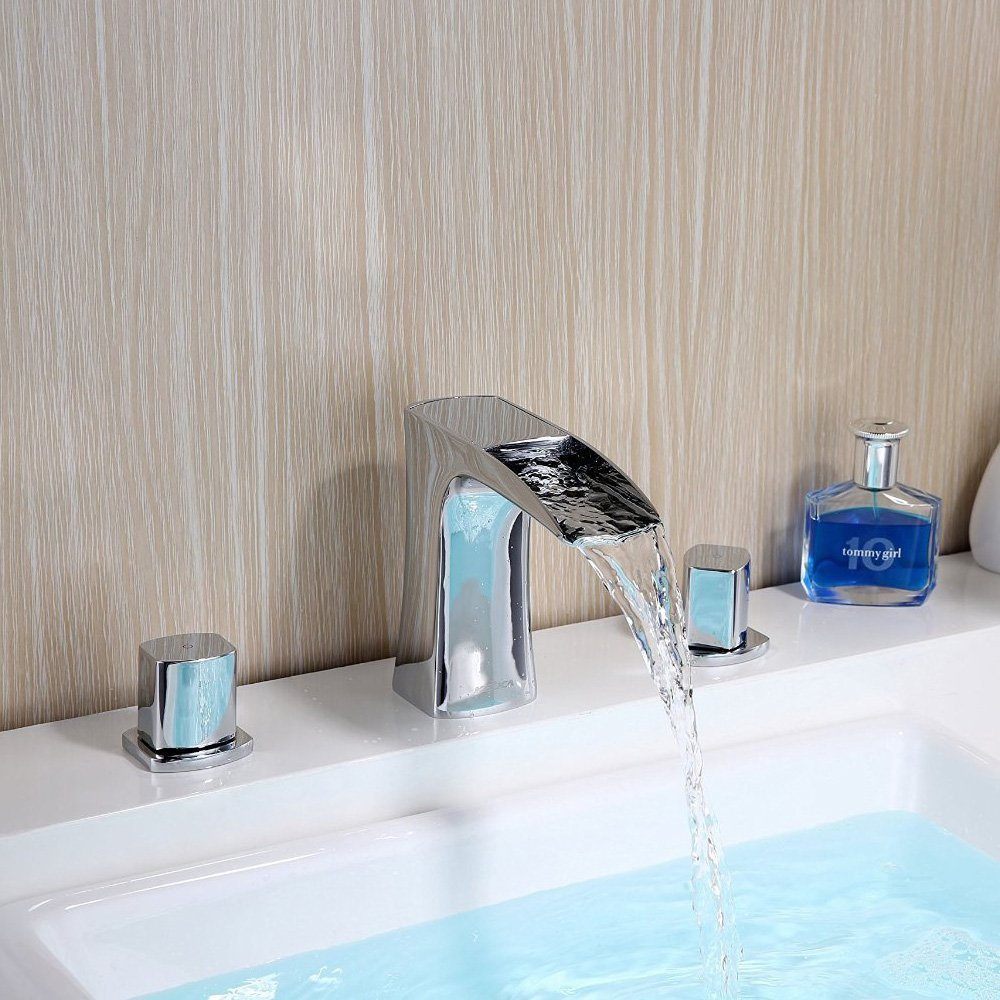 Tap Waterfall Dual Brass Holder 3-Hole Wide Hand wash basins of Mounted Bridge Faucet Chrome Read & Cold Mixer tap