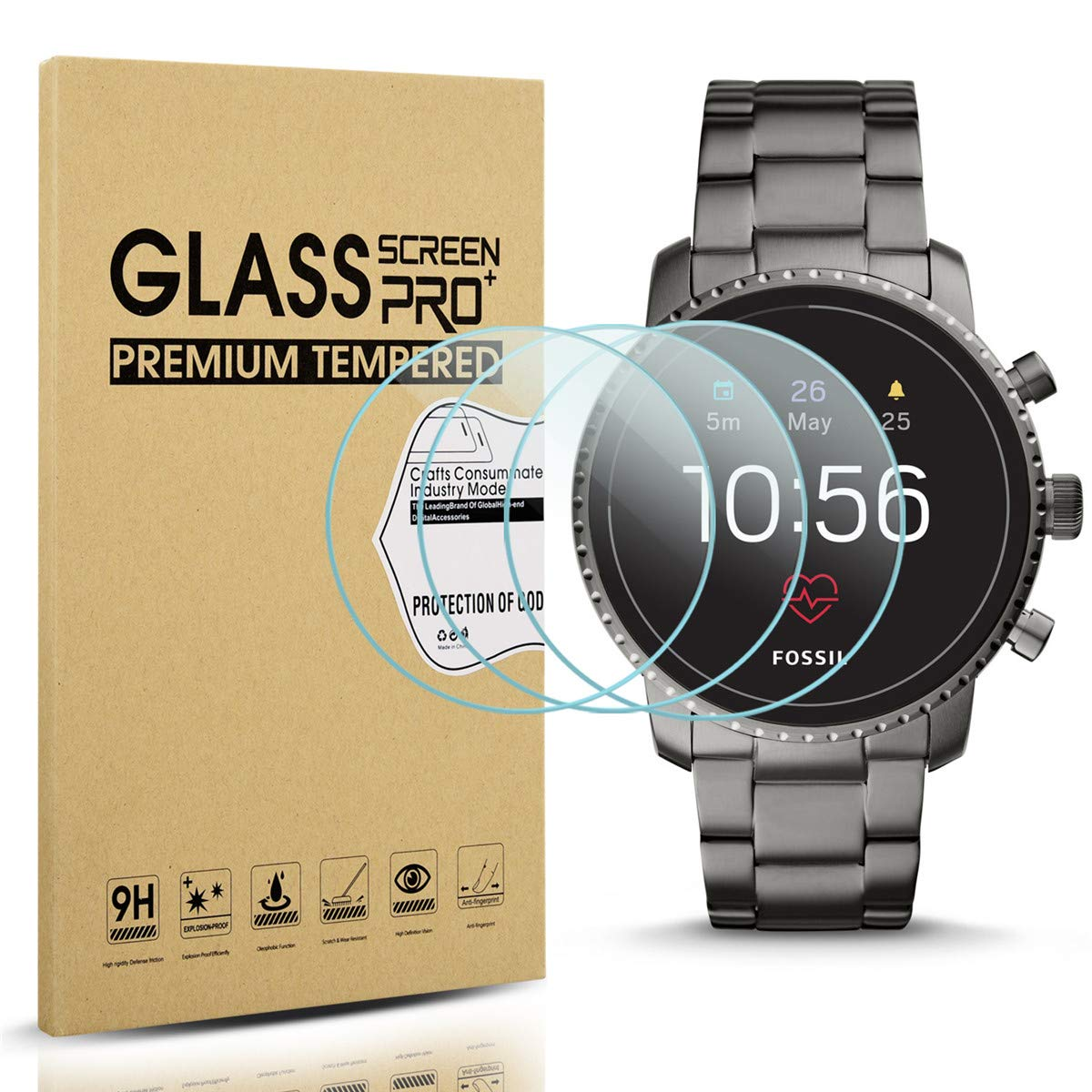 Diruite 3-Pack for Fossil Q Explorist HR Gen 4 Screen Protector Tempered Glass for Q Explorist HR Smartwatch [2.5D 9H Hardness][Anti-Scratch][Optimized Version] - Permanent Warranty Replacement