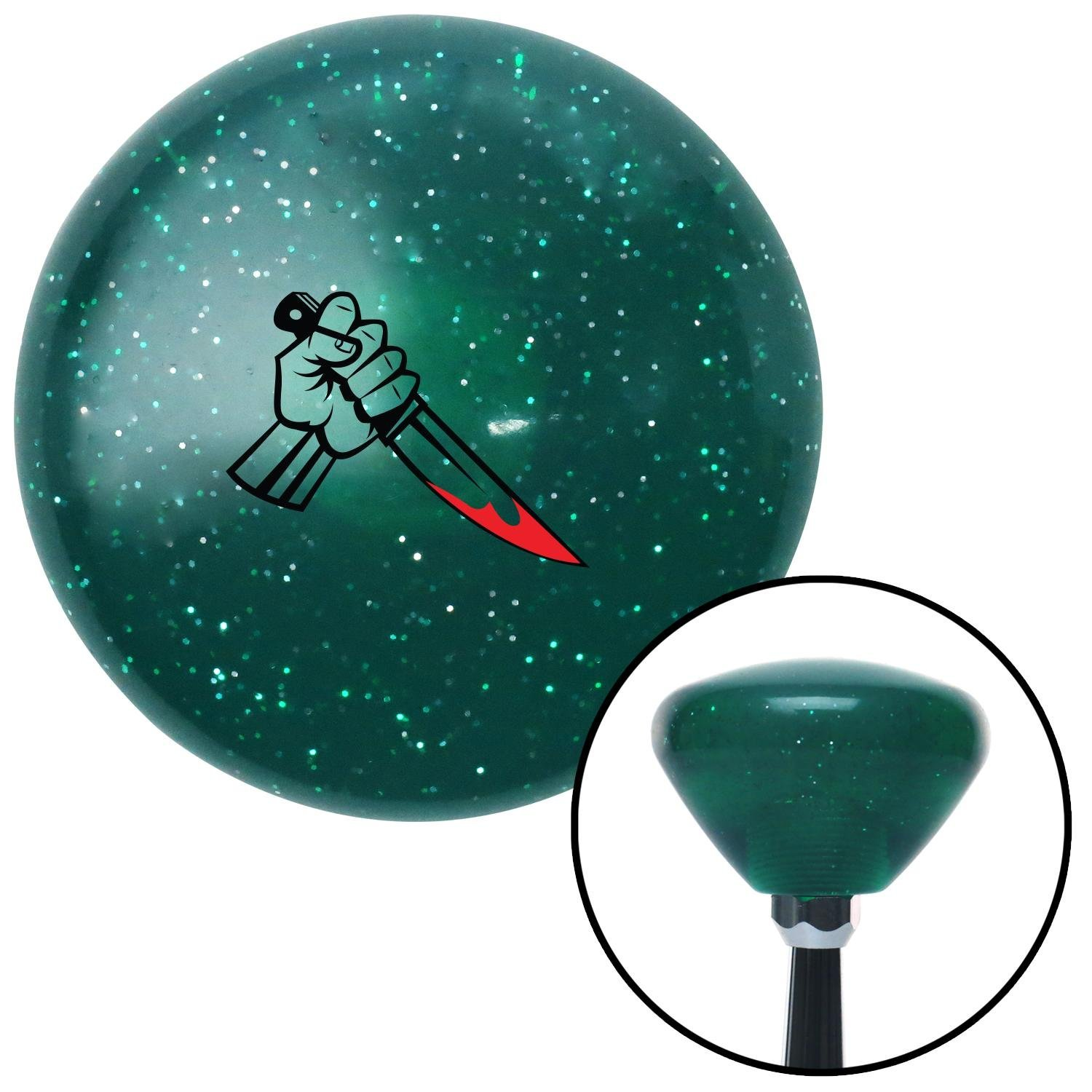 American Shifter 208217 Green Retro Metal Flake Shift Knob with M16 x 1.5 Insert Killer Hand