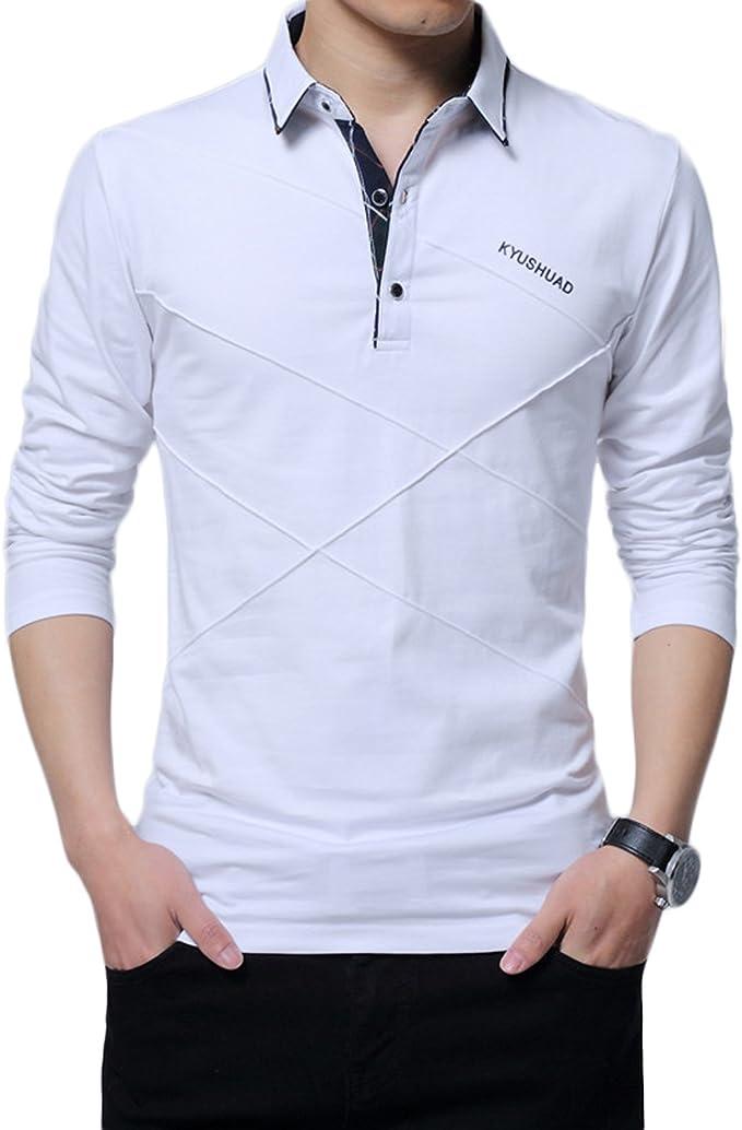 LEOCLOTHO Polo Hombre Manga Larga Camisetas Deporte Golf Tennis ...
