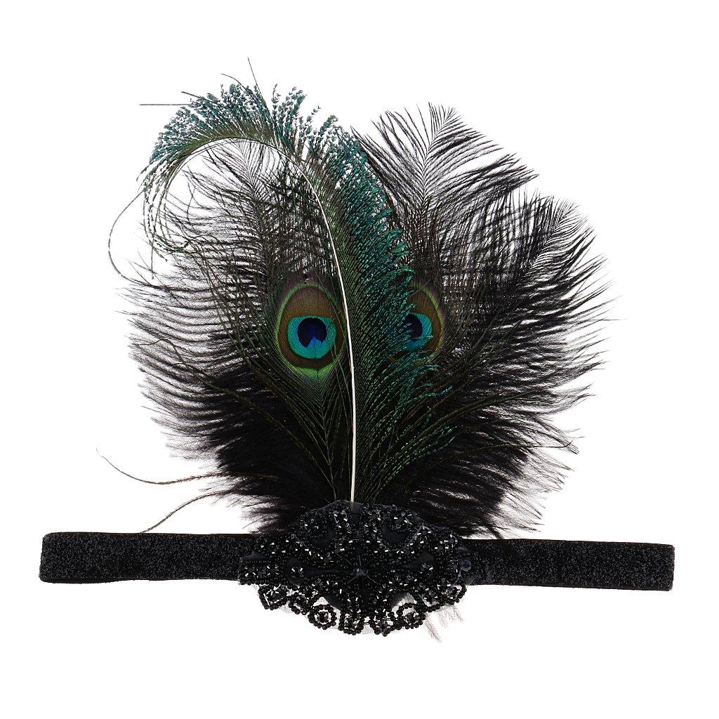 MagiDeal Vintage Femme Plume Bandeau Anné es 1920 Accessoire de Cheveux Cosplay Deguisement