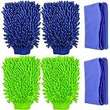 YuCool - 4 manoplas de lavado de coche, impermeables, de microfibra sin arañazos, de alta densidad, ultra suave, uso en…