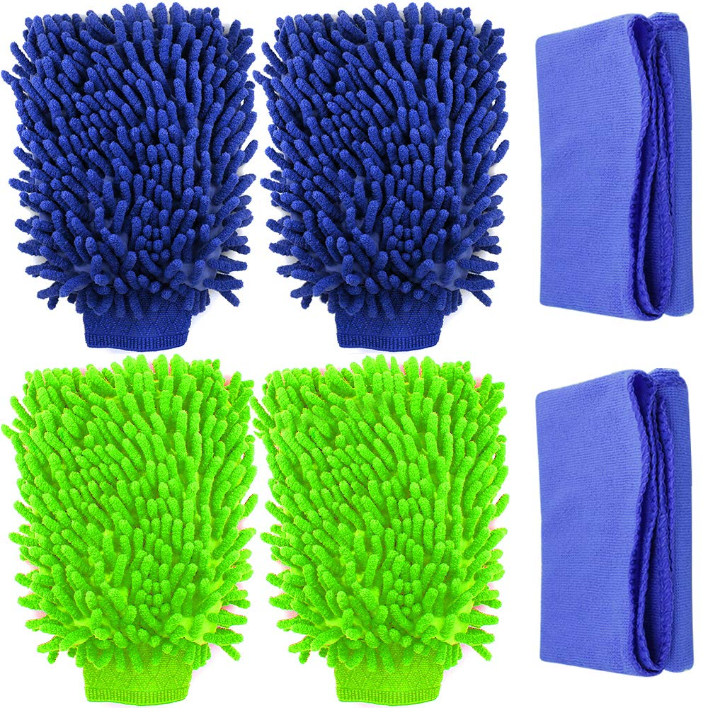 4 Pack Car Wash Mitts, YuCool Waterproof Microfiber Scratch Free, High Density, Ultra-Soft Wash Gloves,Use Wet or Dry, with 2 Cleaning Clothes- Random Green, Dark Blue