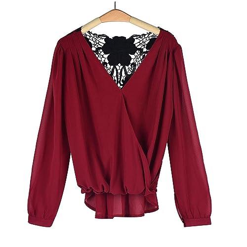 Mujeres Camisetas Manga Larga Camisas V Cuello Chiffon Splice Mujer Encaje Originales Fashionista Basicas Tops Fiesta Elegantes Otoño Primavera Casuales Color Puro T-Shirt Blusas