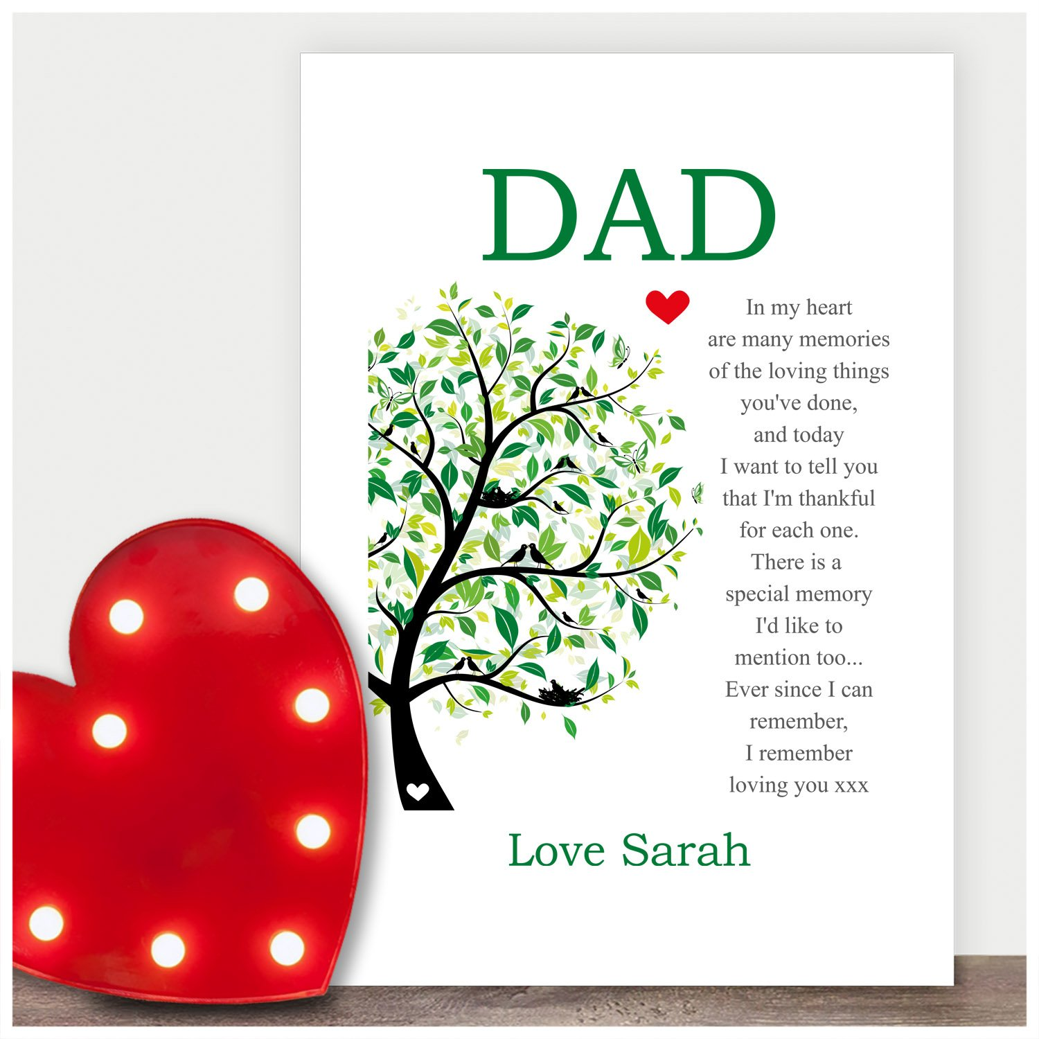 keepsake personalised poem dad birthday gifts daddy father grandad presents love personalised any recipient for birthdays christmas black or white