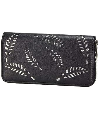 d5ba33cbf95dc Caripe Geldbörse Damen groß Glitzer Feder Blatt metallic glänzend Vintage  Portemonnaie lang Reißverschluss - fjäd5 (