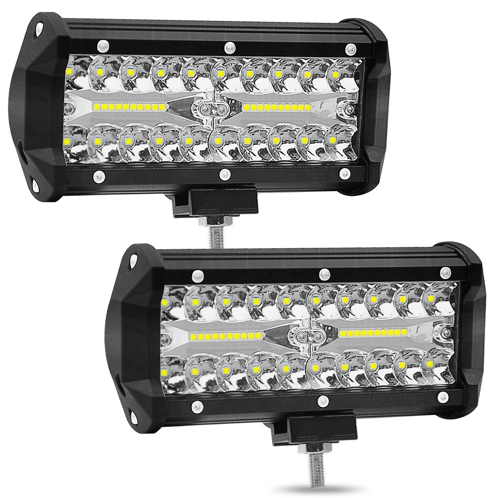 Leoie 2pcs 6 inch 120W High Power LED Strip Lights Off-Car Top Refit Light Bar Working Lamp
